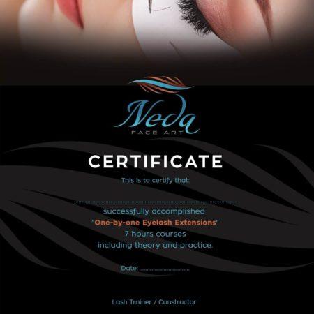 Neda Eyelashes Certificate 1 to 1